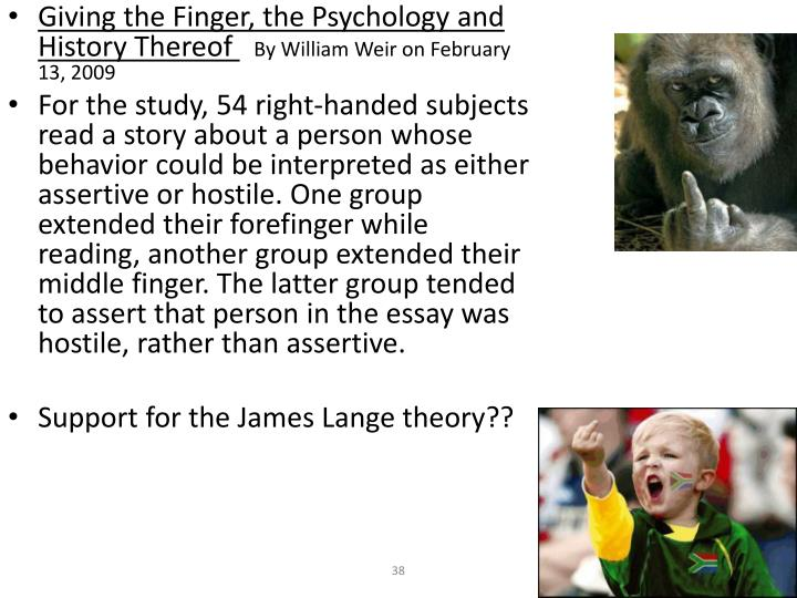 Giving the Finger, the Psychology and History Thereof