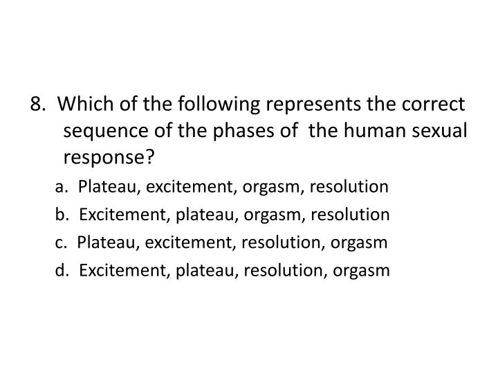 8.  Which of the following represents the correct sequence of the phases of  the human sexual response?