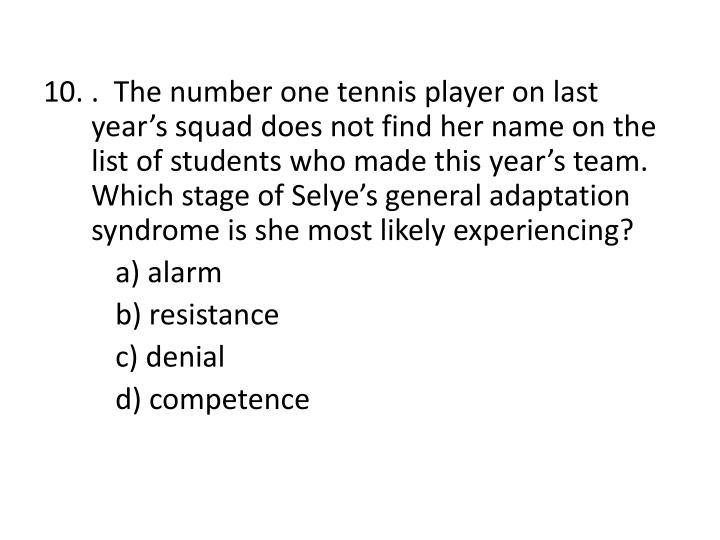 10. .  The number one tennis player on last year's squad does not find her name on the list of students who made this year's team.  Which stage of