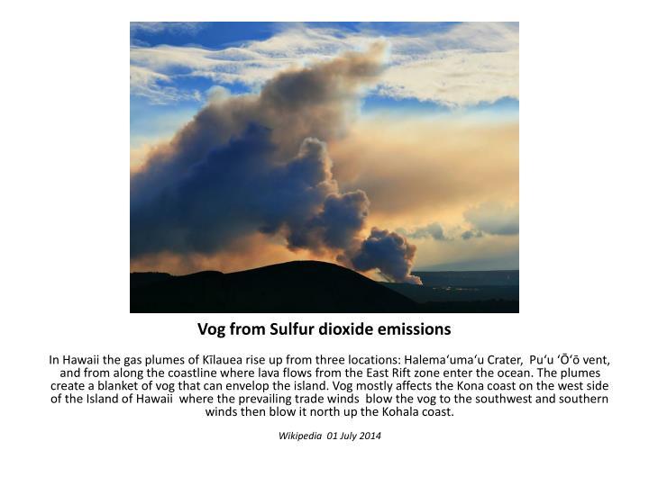 Vog from Sulfur dioxide emissions
