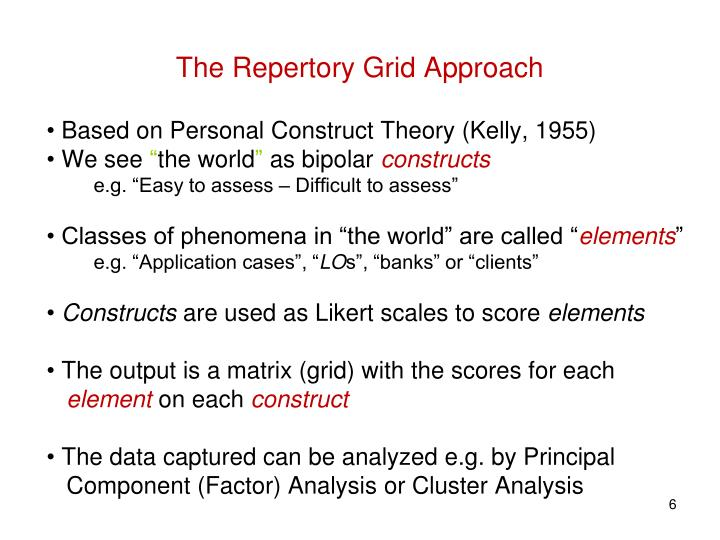 The Repertory Grid Approach