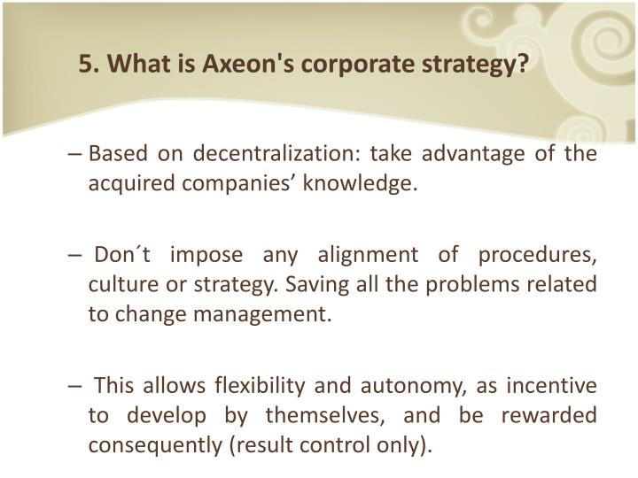 5. What is Axeon's corporate strategy?