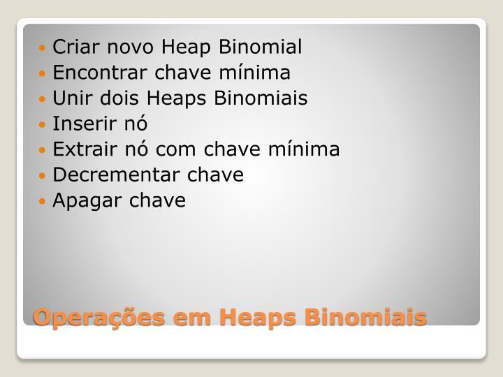 Criar novo Heap Binomial