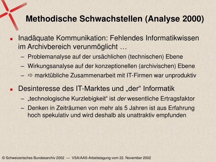 Methodische Schwachstellen (Analyse 2000)
