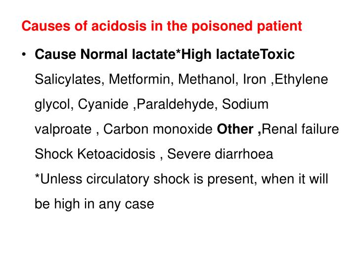 Causes of acidosis in the poisoned patient