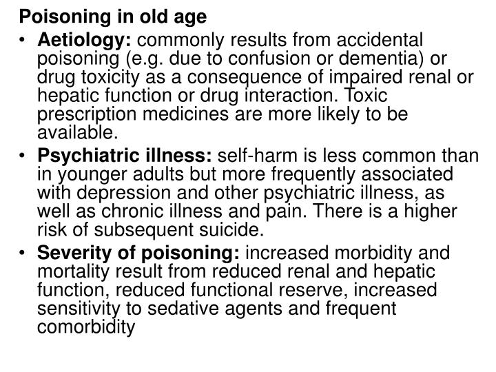 Poisoning in old age
