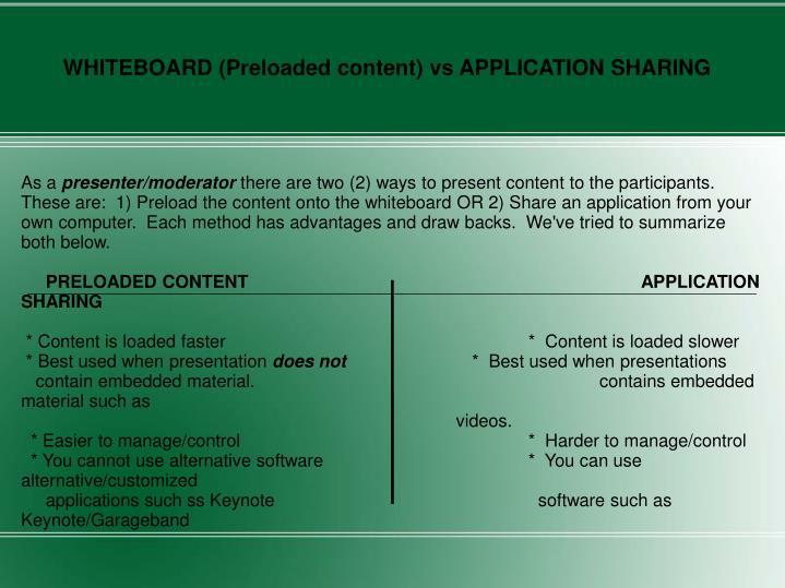 WHITEBOARD (Preloaded content) vs APPLICATION SHARING