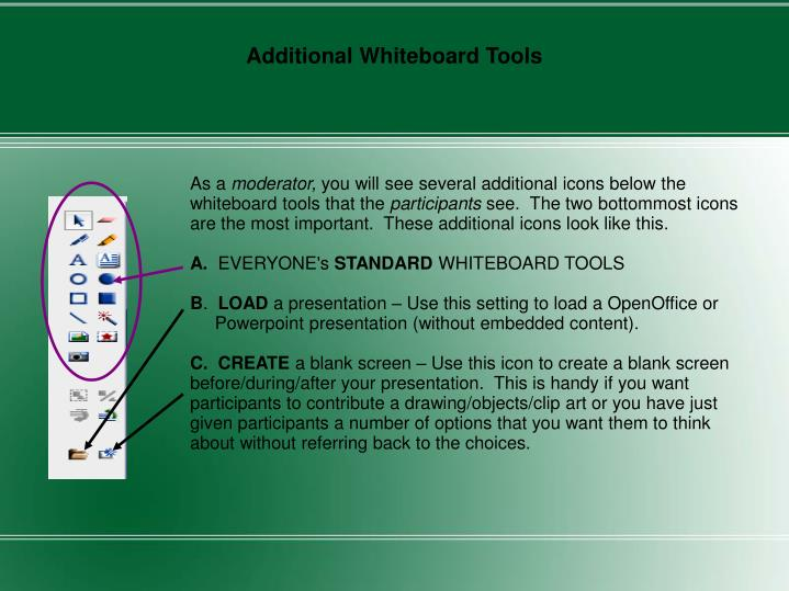 Additional Whiteboard Tools