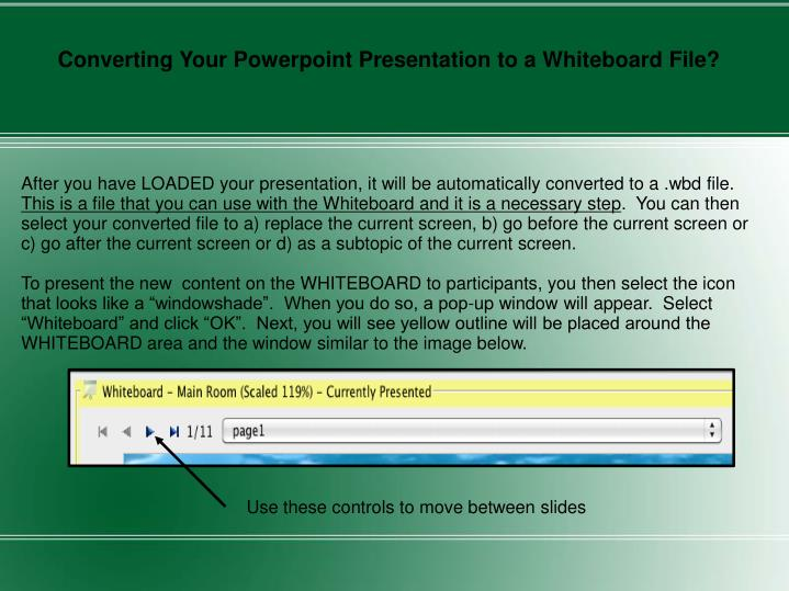 Converting Your Powerpoint Presentation to a Whiteboard File?