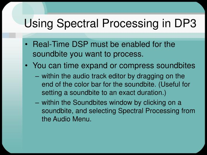 Using Spectral Processing in DP3