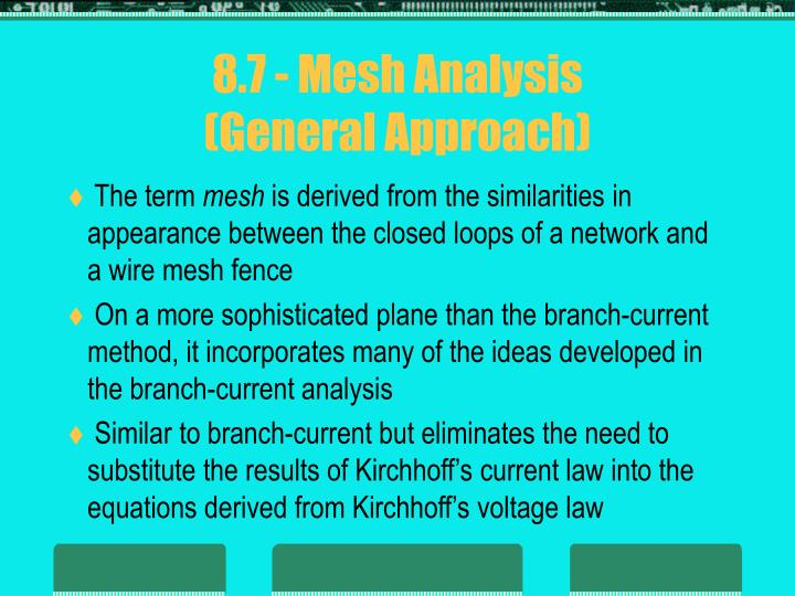 8.7 - Mesh Analysis
