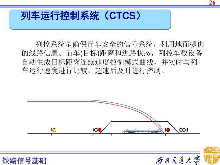 列控系统是确保行车安全的信号系统。利用地面提供的线路信息、前车