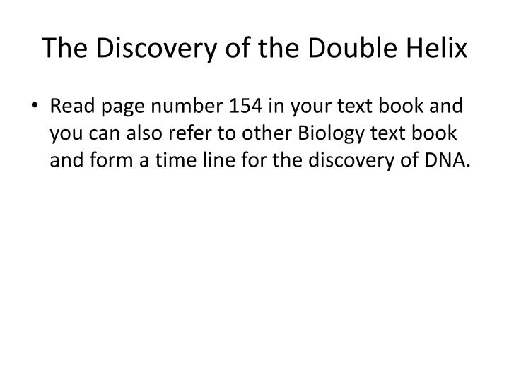 The Discovery of the Double Helix