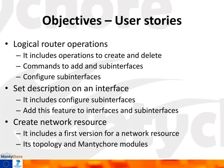 Objectives user stories