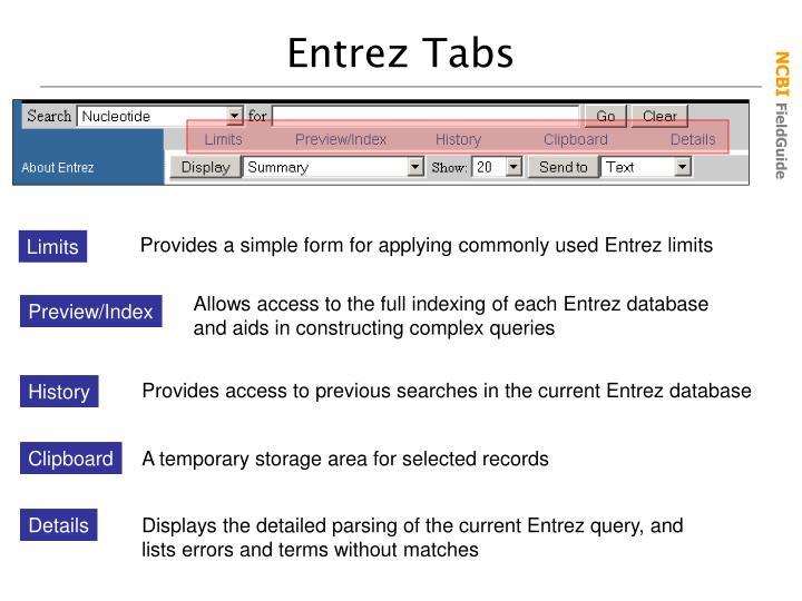 Entrez Tabs