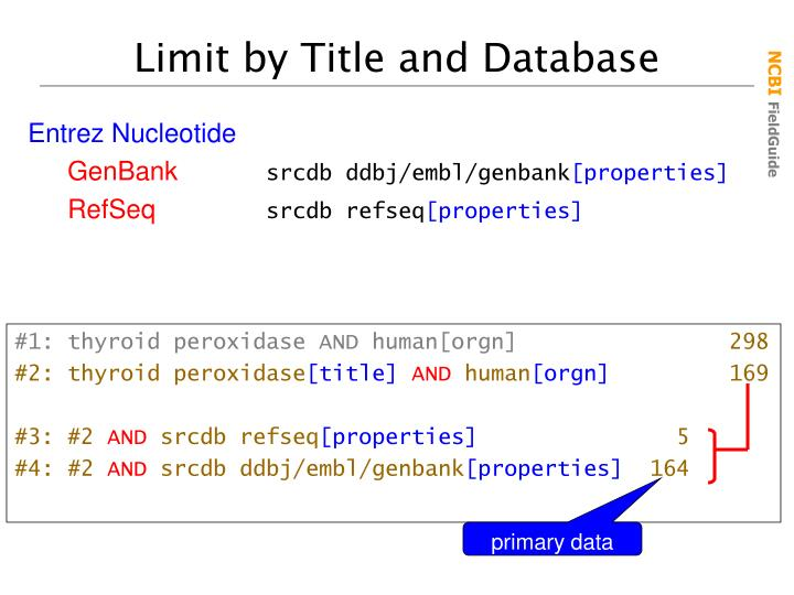 Limit by Title and Database