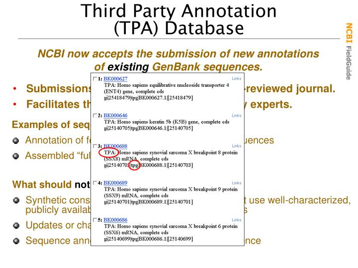 NCBI now accepts the submission of new annotations