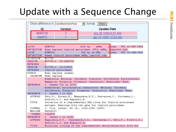 Update with a Sequence Change