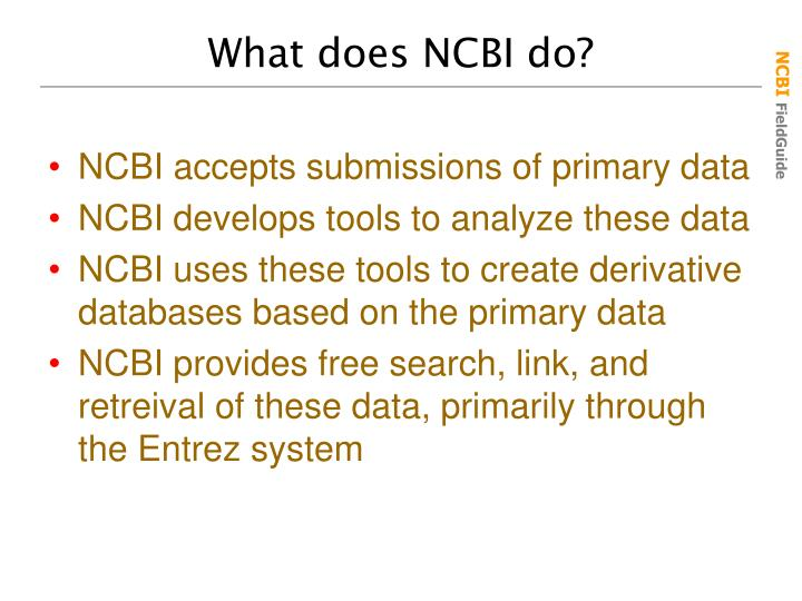 What does NCBI do?