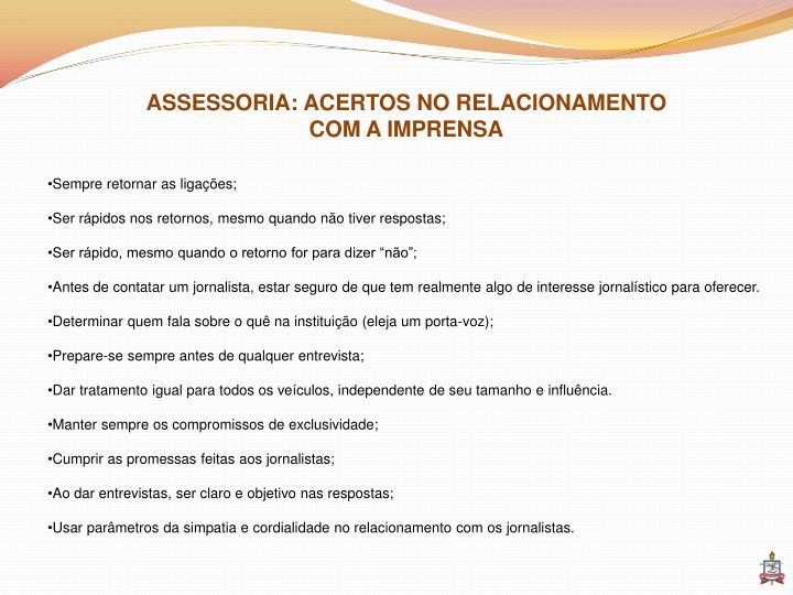 ASSESSORIA: ACERTOS NO RELACIONAMENTO
