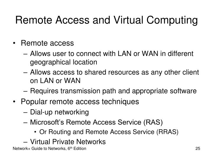 Remote Access and Virtual Computing