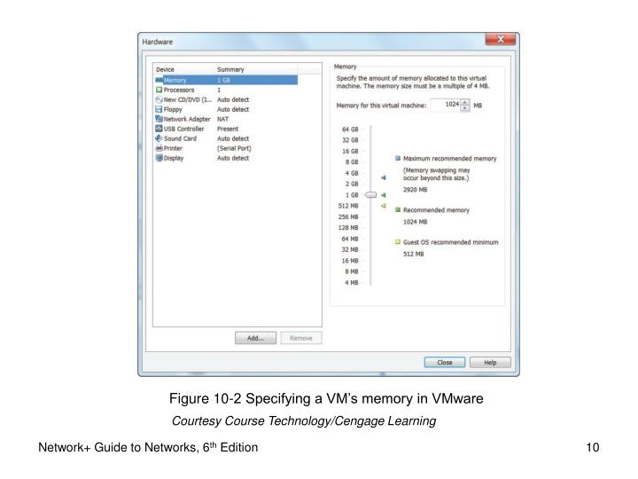 Figure 10-2 Specifying a VM's memory in VMware