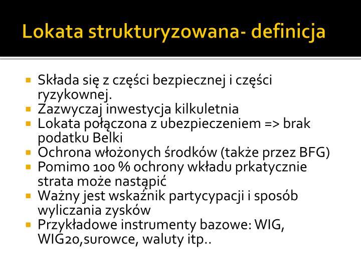 Lokata strukturyzowana- definicja