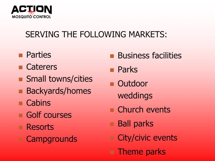 Serving the following markets