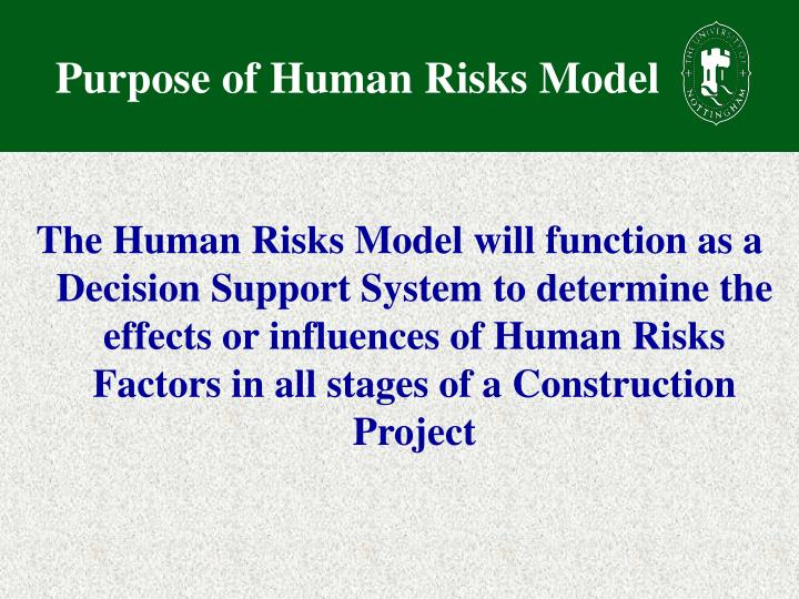 Purpose of Human Risks Model