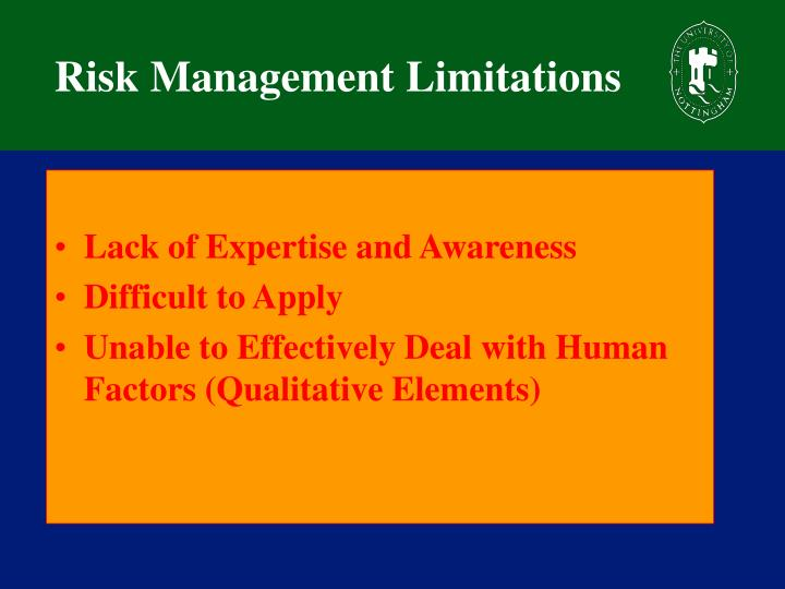 Risk Management Limitations