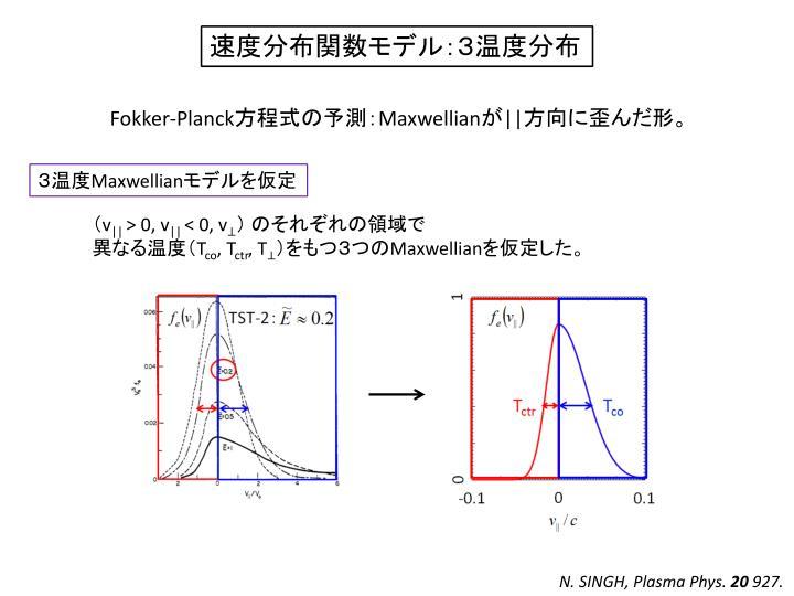 速度分布関数モデル:3温度分布