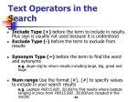 text operators in the search