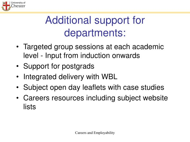 Additional support for departments: