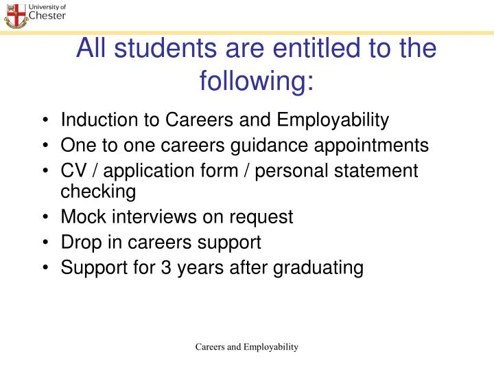 All students are entitled to the following
