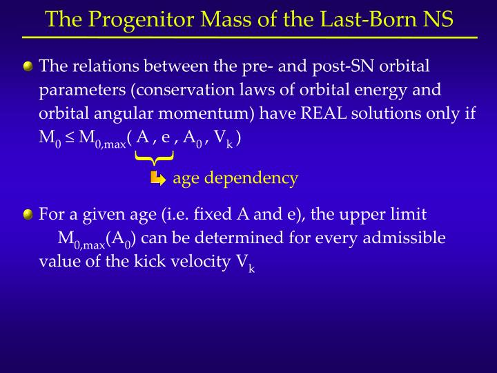 The relations between the pre- and post-SN orbital parameters (conservation laws of orbital energy and orbital angular momentum) have REAL solutions only if M