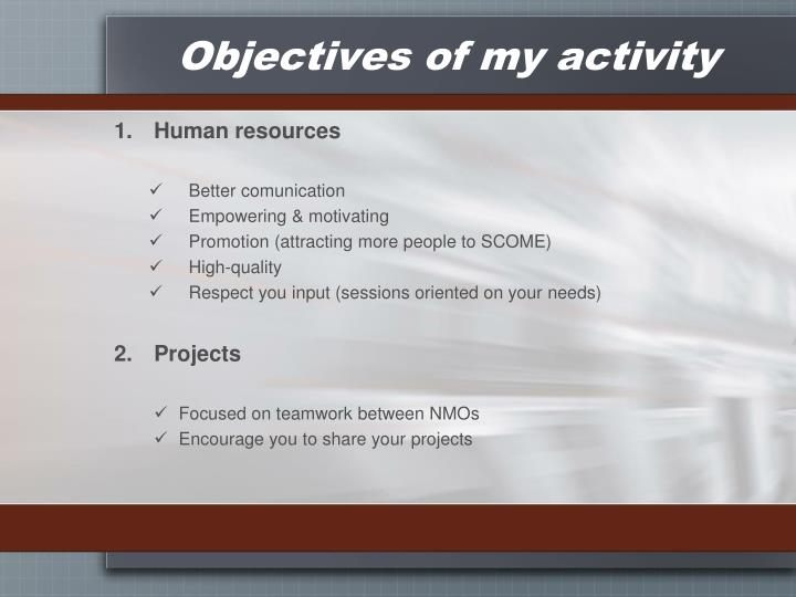 Objectives of my activity