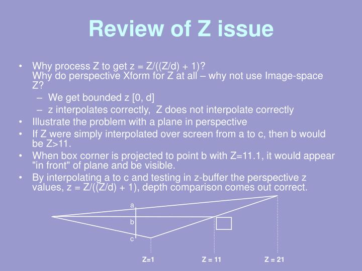 Review of Z issue