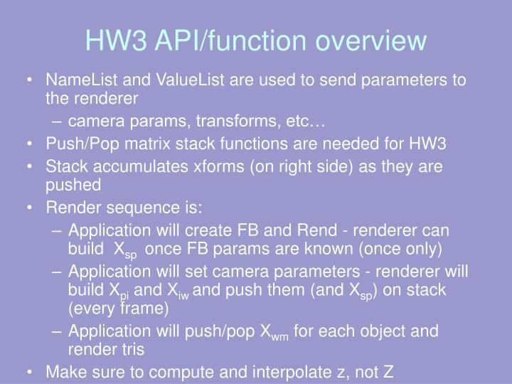 HW3 API/function overview