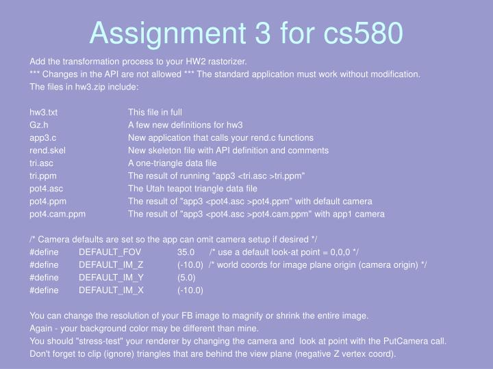 Assignment 3 for cs580