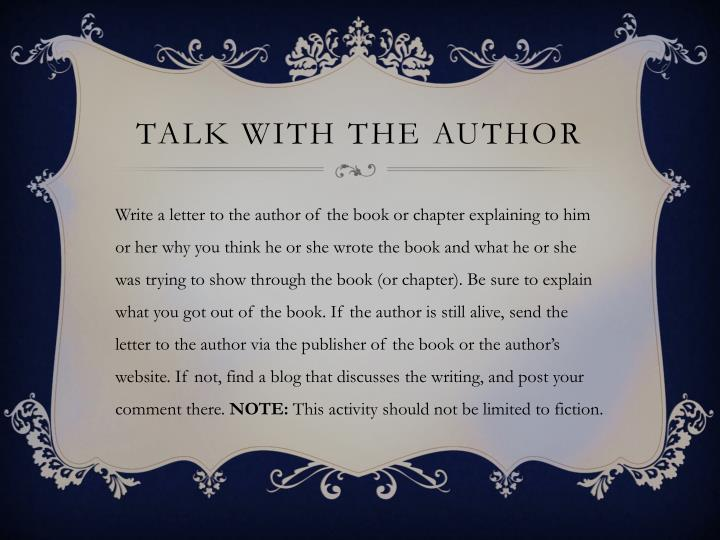 Talk with the Author
