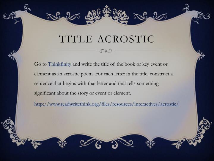 Title Acrostic