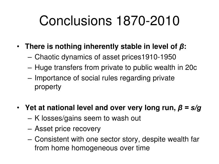 Conclusions 1870-2010