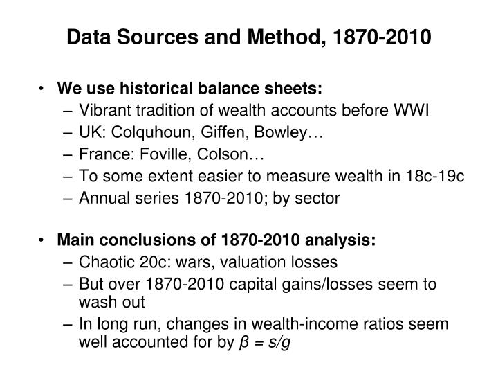 Data Sources and Method, 1870-2010