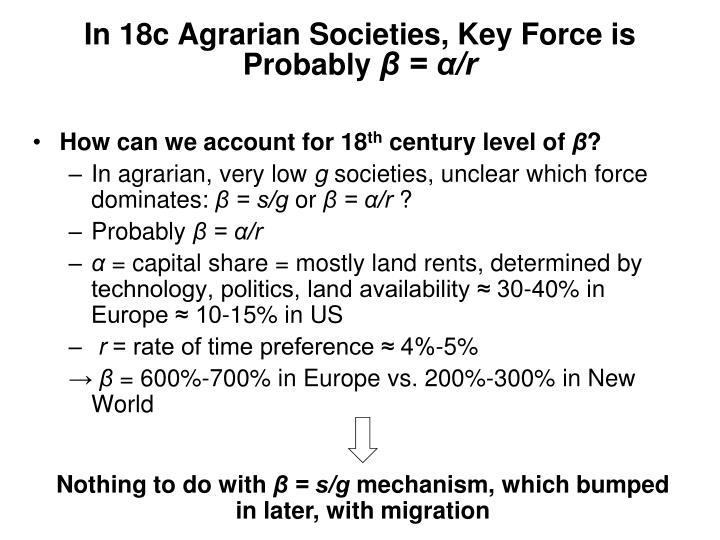 In 18c Agrarian Societies, Key Force is Probably