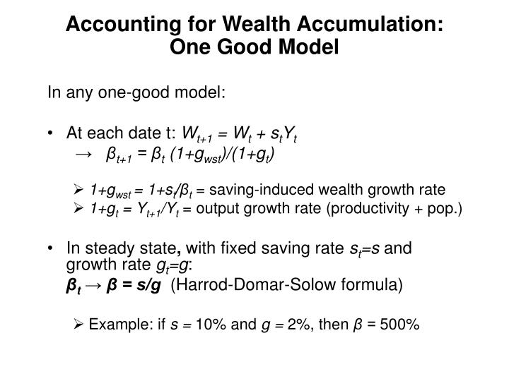 Accounting for Wealth Accumulation: One Good Model