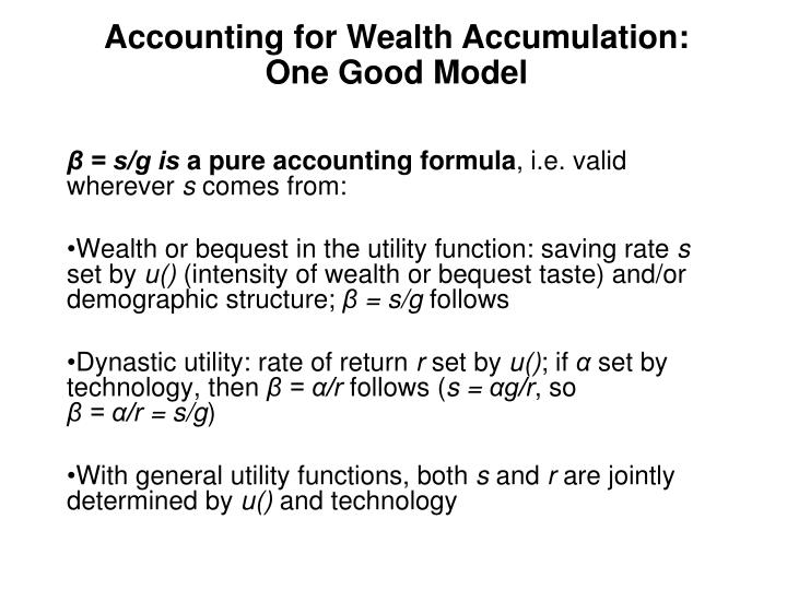 Accounting for Wealth Accumulation: One Good