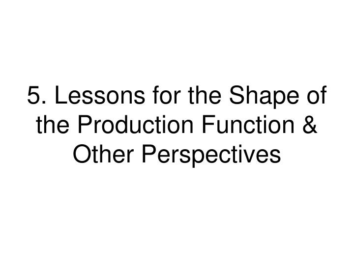 5. Lessons for the Shape of the Production Function & Other Perspectives