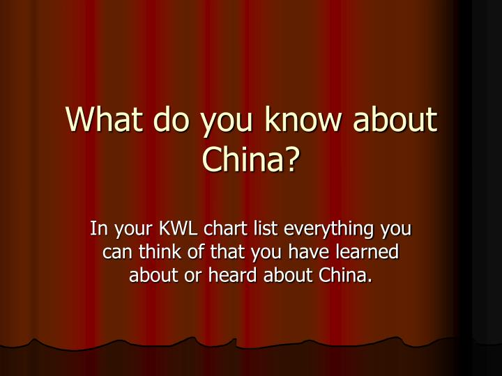 What do you know about China?