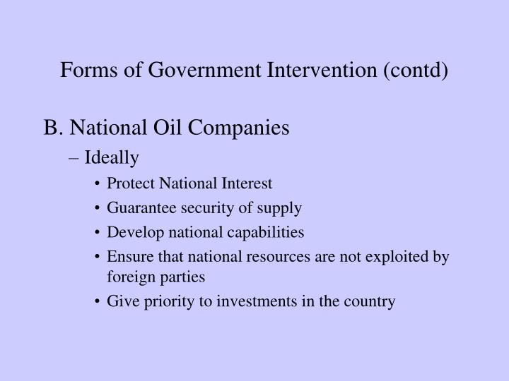 Forms of Government Intervention (contd)