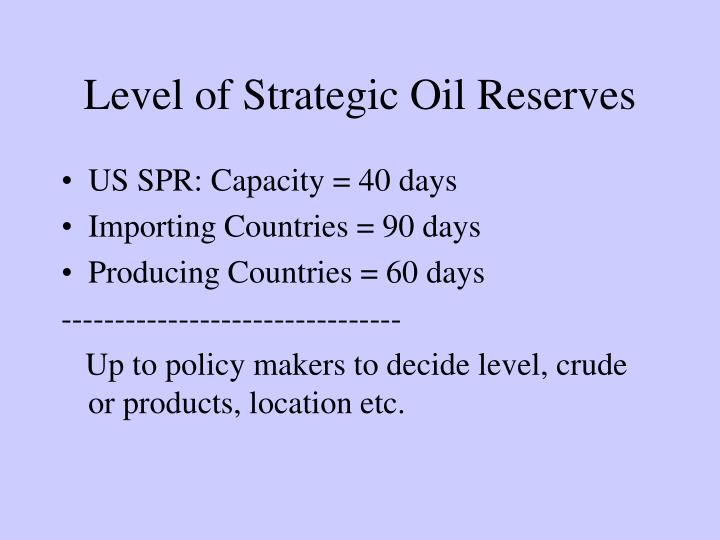 Level of Strategic Oil Reserves